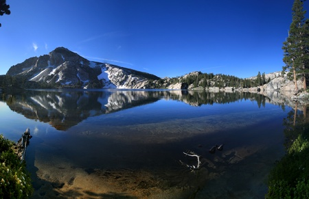 reflection in Peeler lake in the Sierra Nevada mountains of California