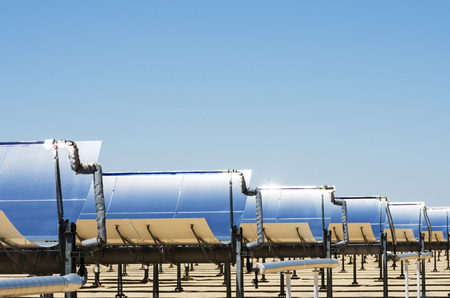 solar thermal electric generating plant collection mirrors with blue sky