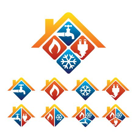 Illustration pour Plumbing, Heating, Cooling, Electrical Store and Service Logo - image libre de droit
