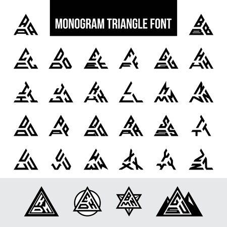Illustration for Set of Letters Triangle Monogram Logo Font - Royalty Free Image