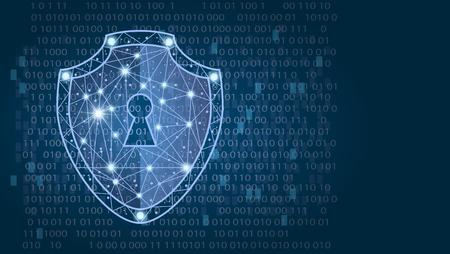 Foto de Cyber security concept: Shield on digital data background. illustration - Imagen libre de derechos