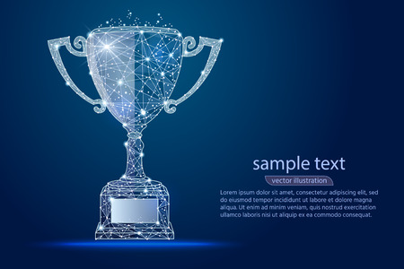 Illustration pour abstract design winner cup, logo isolated from low poly wireframe. Vector abstract polygonal image mash line and point. Digital graphics - image libre de droit
