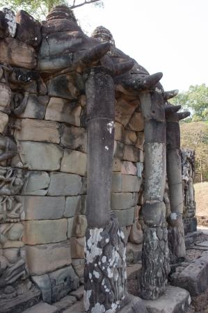 the old rilievo wall in ancient temple, Cambodia