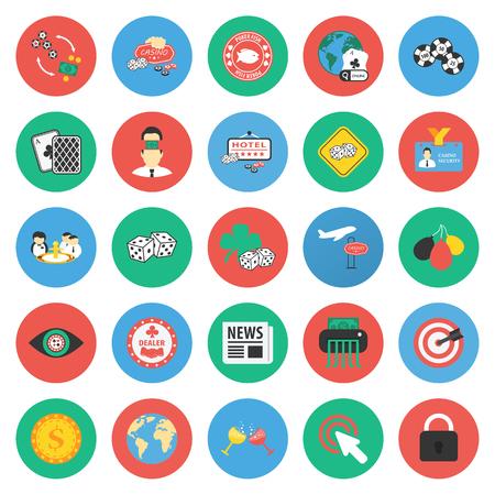 Casino, gambling 25 flat icons set for web design