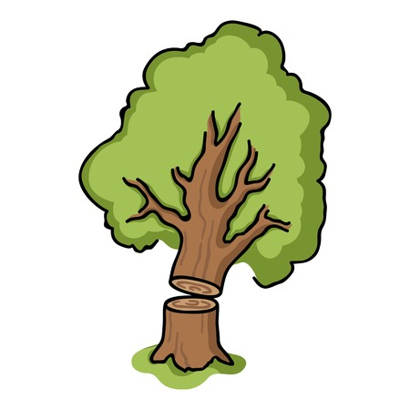 Falling tree icon in cartoon style isolated on white background. Sawmill and timber symbol vector illustration.