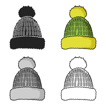 57dc21594c0 Knit cap icon in cartoon style isolated on white background. Ski resort  symbol stock vector