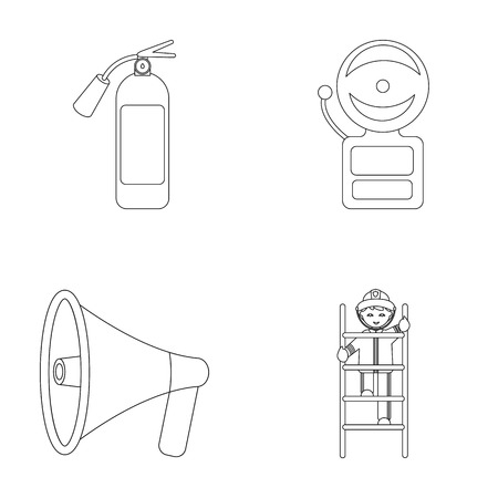 Fire extinguisher, alarm, megaphone, fireman on the stairs
