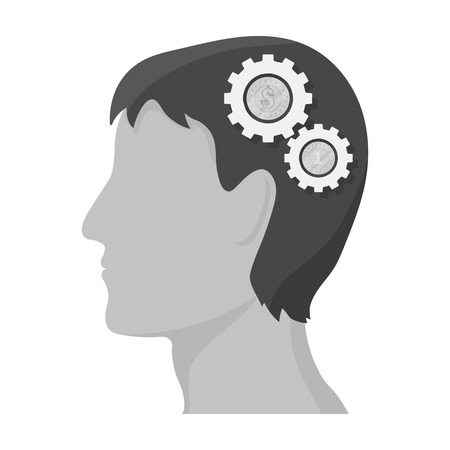 The head of a man with gears. The generator of ideas and thoughts single icon in monochrome style vector symbol stock illustration .