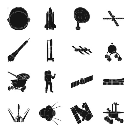 Space ship, Lunokhod, spacesuit and other equipment. Space technology set collection icons in black style vector symbol stock illustration web.