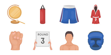 Boxing extreme sports icons in set collection for design. Boxer and attributes vector symbol stock web illustration.