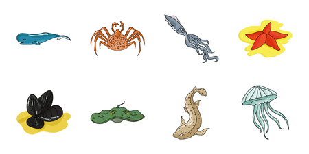 A variety of marine animals icons in set collection for design. Fish and shellfish vector symbol stock  illustration.