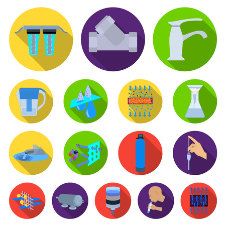 Water filtration system flat icons in set collection for design. Cleaning equipment vector symbol stock web illustration.