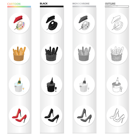 A palette of colors and beret, a French loaf, champagne chilled, womens shoes with heels. France set collection icons in cartoon black monochrome outline style vector symbol stock illustration web.