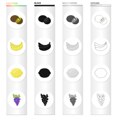 Fruits set collection icons