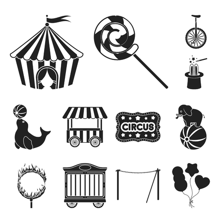 Circus and attributes black icons in set collection for design. Circus Art vector symbol stock web illustration.