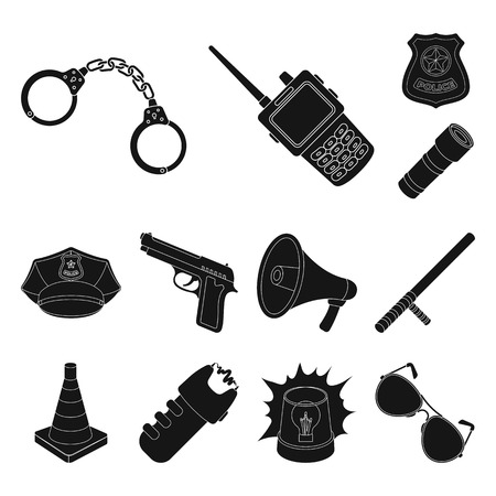 Police, Department black icons in set collection for design.Detective and accessories vector symbol stock web illustration.