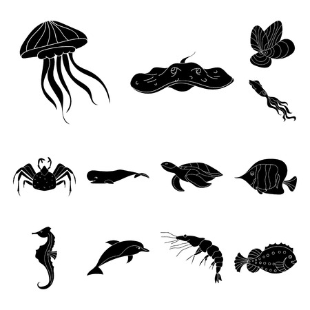 A variety of marine animals black icons in set collection for design. Fish and shellfish vector symbol stock web illustration.