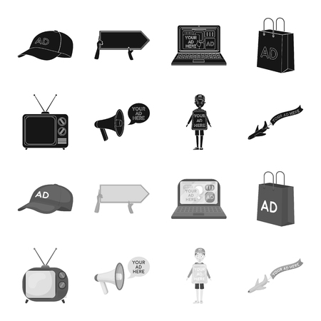 TV, megaphone, a man with a poster, an airplane with a banner.Advertising,set collection icons in black,monochrome style vector symbol stock illustration web.
