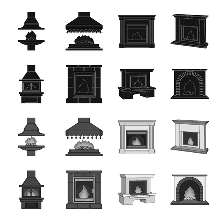 Fireplace set collection icons.
