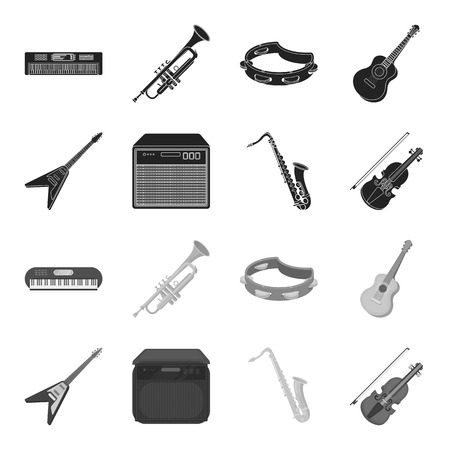 Electric guitar, loudspeaker, saxophone, violin.Music instruments set collection icons in black,monochrome style vector symbol stock illustration web.