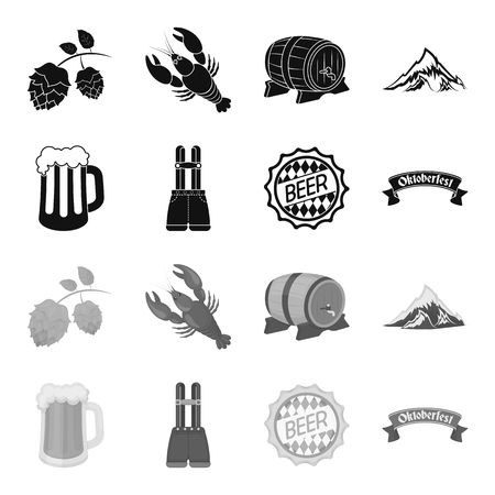 Shorts with suspenders, a glass of beer, a sign, an emblem. Oktoberfest set collection icons in black,monochrome style vector symbol stock illustration web.
