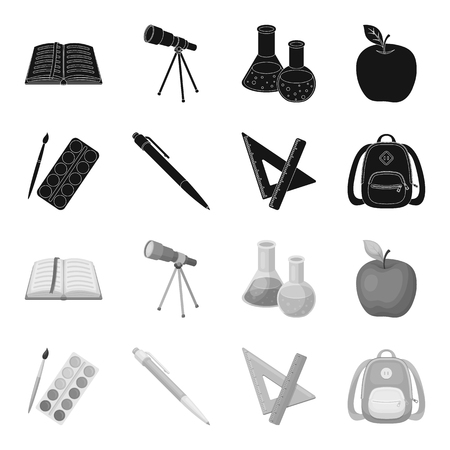 Multicolored paints with a tassel, pen, triangle and ruler, satchel, briefcase. School and education set collection icons in black,monochrome style vector symbol stock illustration web.