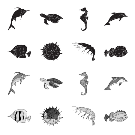 Shrimp, fish, hedgehog and other species.Sea animals set collection icons in black,monochrome style vector symbol stock illustration web.