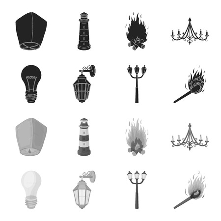 LED light, street lamp, match.Light source set collection icons in black,monochrome style vector symbol stock illustration web.