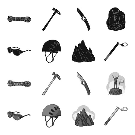 Helmet, goggles, wedge safety, peaks in the clouds.Mountaineering set collection icons in black,monochrome style vector symbol stock illustration web.