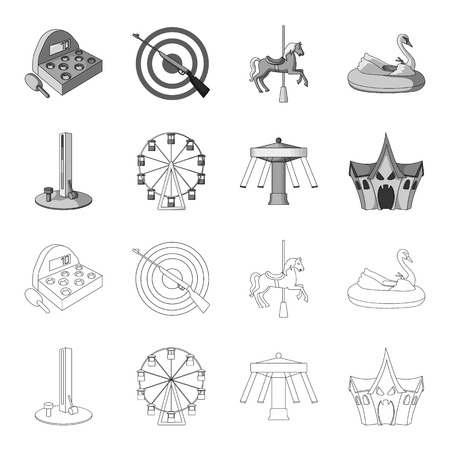 The device with a bat for measuring strength, a ferris wheel, a carousel, a house with windows. Amusement park set collection icons in outline,monochrome style vector symbol stock illustration web.