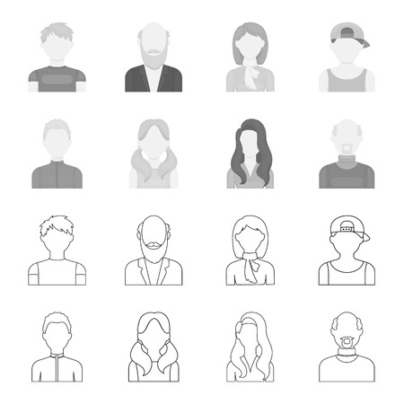 Boy blond, bald man, girl with tails, woman.Avatar set collection icons in outline,monochrome style vector symbol stock illustration web.