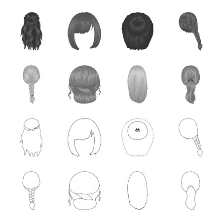 Light braid, fish tail and other types of hairstyles. Back hairstyle set collection icons in outline,monochrome style vector symbol stock illustration web.