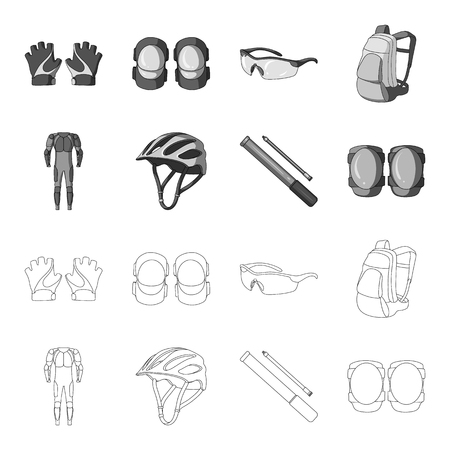Full-body suit for the rider, helmet, pump with a hose, knee protectors.Cyclist outfit set collection icons in outline,monochrome style vector symbol stock illustration web.
