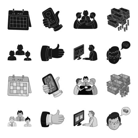Videoconference, business thoughts, a badge of okay.Bizneskonferentsiya and negotiations set collection icons in black,monochrome style vector symbol stock illustration web.
