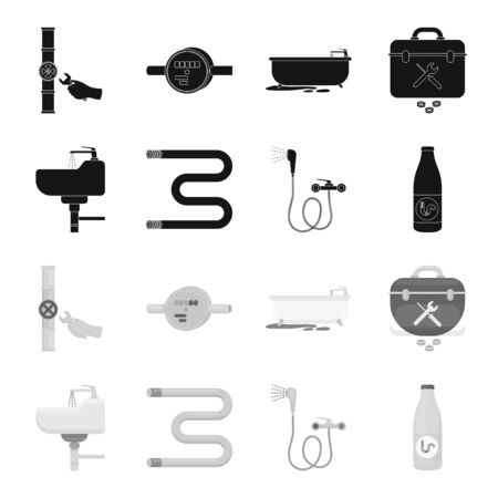 Plumbing set collection icons vector symbol stock illustration web.