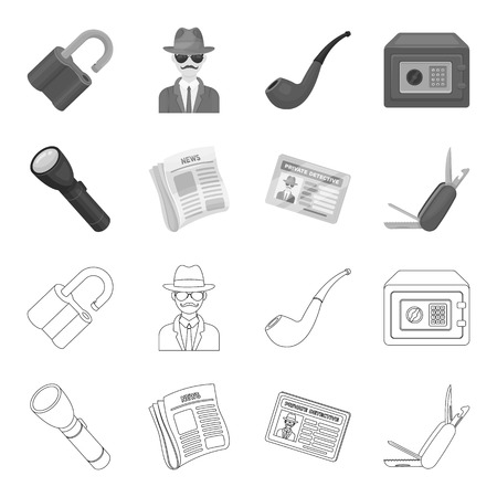 Detective set collection icons in outline, monochrome style vector symbol stock illustration web.