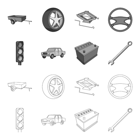 Car parts and accessories set collection icons in outline, monochrome style vector symbol stock illustration web.