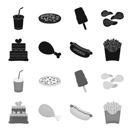 Fast food set collection icons in monochrome style vector symbol stock illustration web.