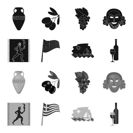 Greece set collection icons in monochrome style vector symbol stock illustration web.