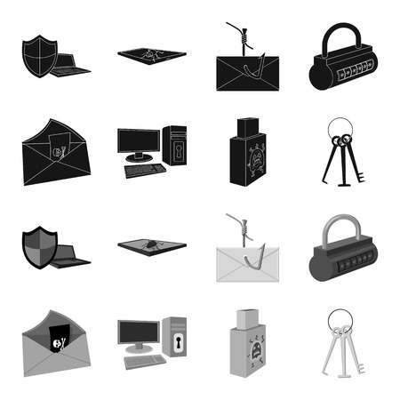 Hackers and hacking set collection icons in monochrome style vector symbol stock illustration web.