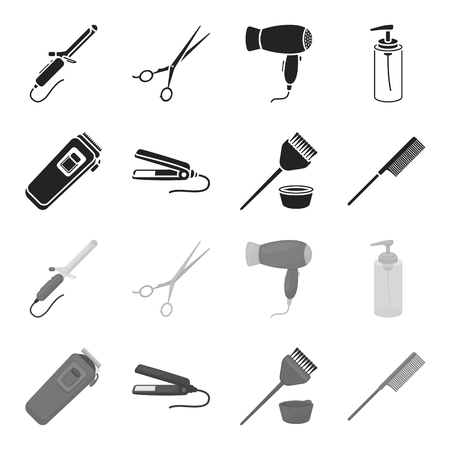 Hairdresser set collection icons in monochrome style vector symbol stock illustration web.