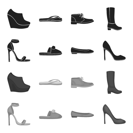 Shoes set collection icons in monochrome style vector symbol stock illustration web.