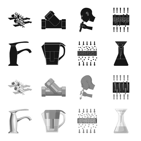 Water filtration system set collection icons.