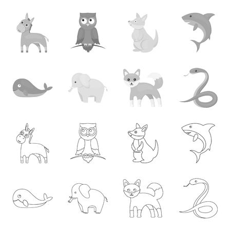 Animal set collection icons in outline monochrome style vector symbol stock illustration web.