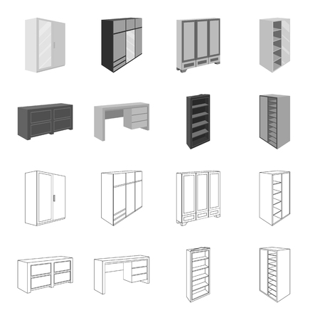 Bedroom furniture set collection icons in outline monochrome style vector symbol stock illustration web.