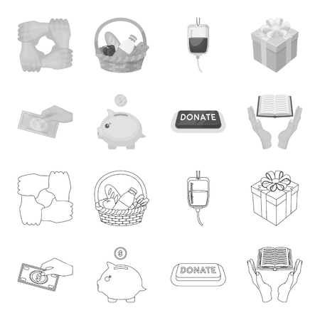 Charity and donation set collection icons in outline monochrome style vector symbol stock illustration web.