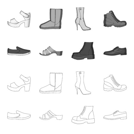 Different shoes single icon in outline monochrome style vector web symbol stock illustration.