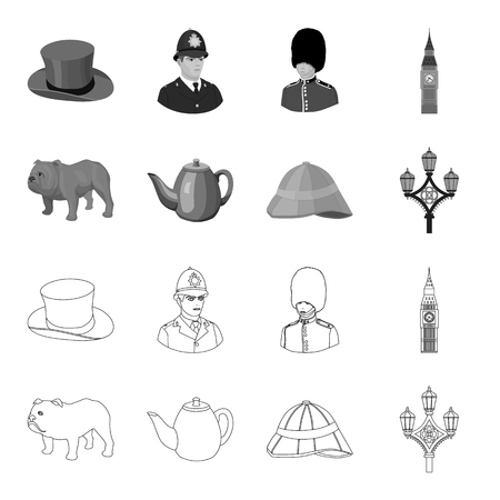 England set collection icons in outline monochrome style vector symbol stock illustration web.