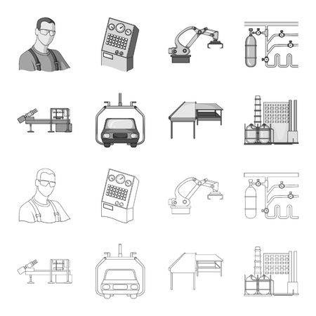 Automotive industry and other web icons in outline monochrome style.