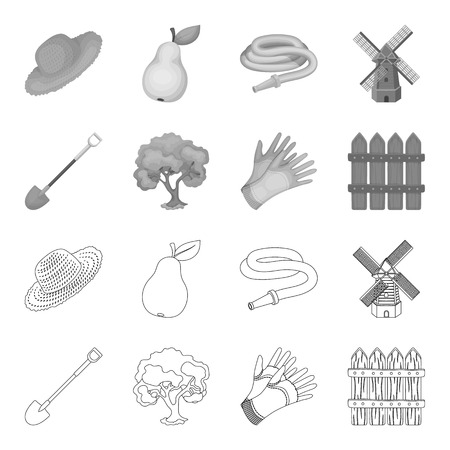 Farm and gardening set collection icons.